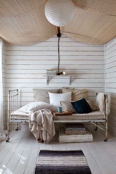Keltainen talo rannalla i have this thought i could do this in my summerhouse . Decor, Wooden Barn, Modern Interior, House Design, Room Inspiration, Decor Design, Bed Stand, White Painted Floors, Home Decor