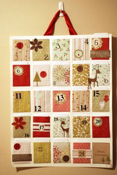 I think this would be so cute if it was make like a mini quilt with pockets and hung on the wall :) advent calendar with pockets