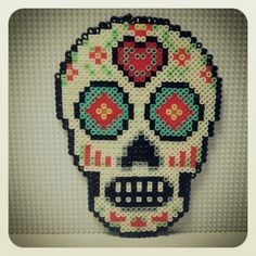 Sugar skull hama beads by olaibombai