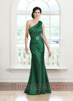 Young Sheath / Column One Shoulder Floor-length Satin Beading Silver Mother of the Bride Dresses