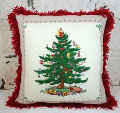 SALE Price Reduced SPODE Christmas Tree Linen by GraceLaneCottage