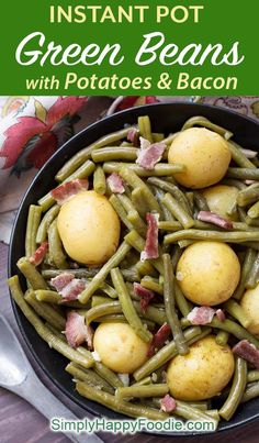 Instant Pot Green Beans with New Potatoes and Bacon are true comfort food! This fast cooking pressure cooker Southern green beans recipe is fast cooking, and has a lot of flavor. Instant Pot Recipes by Can Green Beans, Cooking Green Beans, Green Beans And Potatoes, Instant Pot Pressure Cooker, Pressure Cooker Recipes, Pressure Cooking, Slow Cooker, Pressure Pot, Strip Steak