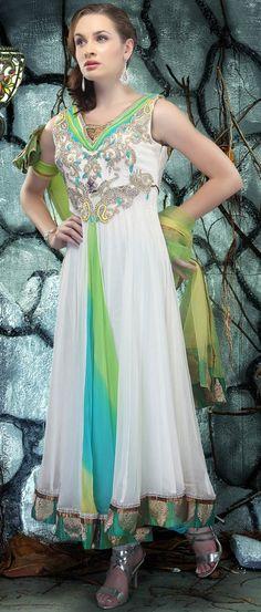 #White and Parrot #Green Faux Georgette #Churidar #Kameez @ $205.80 | Shop @ http://www.utsavfashion.com/store/sarees-large.aspx?icode=kym24
