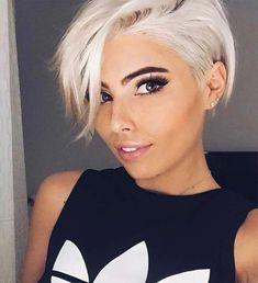 Short White Hair, Short Hair Cuts, Short Hair With Undercut, White Pixie Cut, Funky Short Hair, Messy Hairstyles, Pretty Hairstyles, Hairstyle Hacks, Short Hairstyle