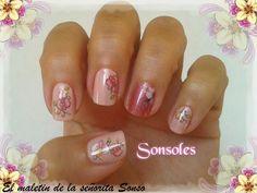 El maletin de la señorita Sonso: Manicura Rosa Water Decals Flores.