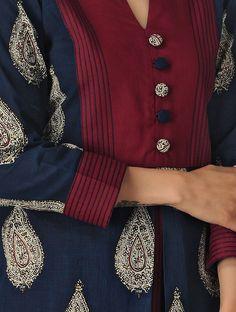 Blue Kalamkari Cotton Kurta - All About Salwar Neck Designs, Kurta Neck Design, Neck Designs For Suits, Neckline Designs, Kurta Designs Women, Dress Neck Designs, Designs For Dresses, Sleeve Designs, Latest Kurti Designs