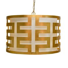 "THE DESIGN NETWORK | World's Away ""Gold Leaf Greek Key Pendant"" #TheDesignNetwork #ShopTDN #homedecor #lighting"