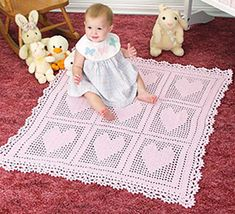 Heart's Delight Baby Blanket pattern by Darla J. Fanton.  Crochet blanket.  Crochet World Feb 2016.  Saved to newsstand.  8 ply 235m/ 100g x 4