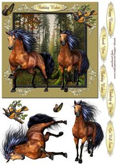 Horses and Birds 3 quick card  on Craftsuprint - Add To Basket!