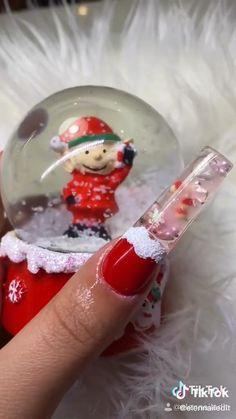 Diy Acrylic Nails, French Acrylic Nails, Cute Acrylic Nail Designs, May Nails, Dope Nails, Snow Globe Nails, Nail Art Designs Videos, Unicorn Nails, Luxury Nails