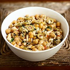 This Garlic Chickpea Salad with Olives, Parmesan, and Basil has a bold & delicious flavor profile.