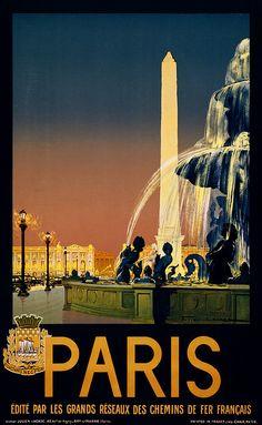 This beautiful vintage poster hangs in my living room <3 Paris