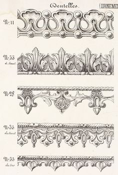 Mouldings from the Garde Meuble adorno blanco Wood Carving Patterns, Carving Designs, Art Design, Design Elements, Art Nouveau, Boarder Designs, Pattern Texture, Steinmetz, Ornament Drawing