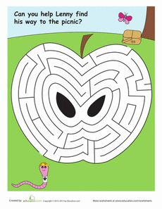 This hungry worm is looking for a sweet treat! Can your little learner help him find his way through this apple and to the picnic? Preschool Worksheets, Preschool Activities, Mazes For Kids Printable, Letter Maze, Maze Worksheet, Kindergarten Units, My Father's World, Apple Theme, Picture Puzzles