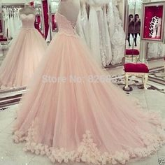 Ball Gowns Pink Prom Dresses Lace-up Appliques Quinceanera Dress Sweet 16 Party