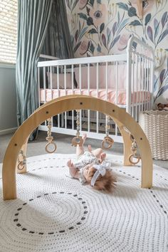 Absolutely stunning floral girls nursery featuring wooden baby gym by Nester and Cub. This arched baby gym is made with love in Australia and is the perfect scandi addition to any modern nursery. Natural Nursery, Nursery Neutral, Floral Nursery, Baby Decor, Nursery Decor, Boho Nursery, Room Decor, Baby Girl Nursery Wallpaper, Pink And Green Nursery