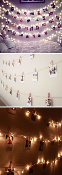 Polaroid Wall With String Lights | 24 DIY Teenage Girl Bedroom Decorating Ideas:
