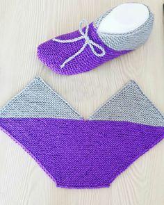 Hashtag Gulumsetenmarifetlerpatik En In - Diy Crafts Knitted Booties, Crochet Boots, Knitted Slippers, Diy Crochet, Crochet Baby, Knit Slippers Free Pattern, Crochet Slipper Pattern, Baby Hats Knitting, Knitting Socks