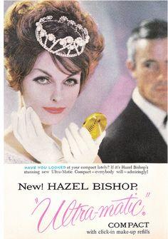 "Hazel Bishop ""Ultra-matic"" compact ad, 1959"