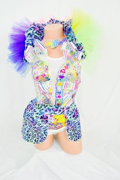 Lisa Frank inspired costume with fairy light on the collar / rainbow /EDC / dance wear / performance / halloween by RolitaCouture on Etsy https://www.etsy.com/listing/194041394/lisa-frank-inspired-costume-with-fairy