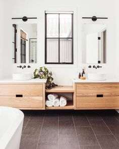 52 Beautiful Modern Bathroom Design You Can Try - Badezimmer Bathroom Renos, White Bathroom, Bathroom Renovations, Bathroom Furniture, Bathroom Ideas, Bathroom Vanities, Neutral Bathroom, Bathroom Inspo, Bathroom Cabinets