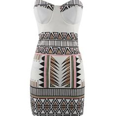 White Geometric Print Bodycon Dress White Geometric Print Bodycon Dress. Brand new. No size listed but fits like a medium. Dresses Strapless