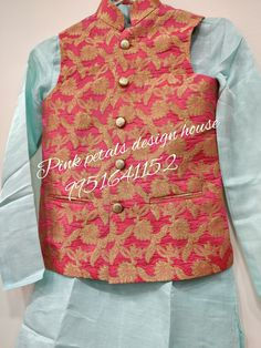 A customized sherwani and waist coat for kidoo at pink petals.. call on 9951641152 Waist Coat, Pink Petals, Sherwani, House Design, Fashion, Moda, Rose Petals, Fashion Styles, Fasion