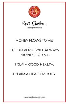 Our Root Chakra represents our foundation and feeling of being grounded. These 20 affirmations will heal your Root Chakra and raise its vibration. Chakra Healing Meditation, Throat Chakra Healing, Yoga Meditation, Kundalini Yoga, Pranayama, Healing Affirmations, Daily Affirmations, Morning Affirmations, Chakra Raiz