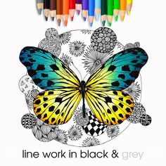 Art Therapy Colour In Butterfly Coloring Page Digital Butterfly Coloring Page, Types Of Printer, Adult Coloring, Colouring, Digital Stamps, Printable Coloring Pages, Art Therapy, Line Art, Black And Grey