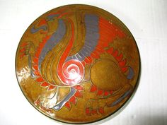 Vintage Champlevé Enameled Brass Box, Trinket Box, Powder Box, with Colorful Dragon or Griffin Design on the Lid, Art Deco