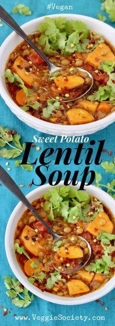 Sweet Potato Lentil Soup Recipe with Tomatoes, Cumin and Cilantro | VeggieSociety.com #vegan #plantbased #soup #glutenfree #lentil