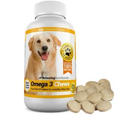 Amazing Omega-3 Rich Fish Oil 100% Pure All-Natural - Unscented Premium Food Grade Pet Nutritional Supplements - Antioxidant Fatty Acids - Promotes Shiny Coat, Bone, Joint and Brain Health - 120 Tasty Chewable Tablets Your Dog Will Love ** For more information, visit image link.