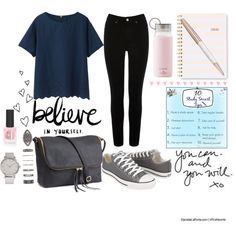 Casual & Classy School Look + 10 Study Smart Tips & Video! by ladylikecharm on Polyvore featuring Uniqlo, Oasis, Converse, H&M, Forever 21, Topshop, Sugar Paper, Kate Spade and Swarovski