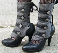 Women's Spats -Military-Inspired Leather Applique and Herringbone Spats with Buttons-Isa. $109.00, via Etsy.