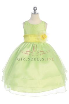 Lime Organza Simple Layered Flower Girl Dress with Sash CD-574-LM $56.95 on www.GirlsDressLine.Com