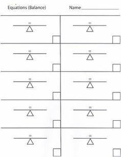 This handout is to practice equations with. I have drawn 10 pictures that resemble a teeter totter. This helps supplement hands on equations and the thought process of balance. Use this page to give the students 10 practice problems.
