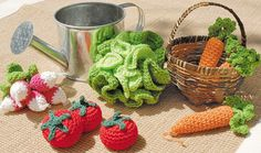 Knitting Patterns Toys From Cendrine Armanis 'My crocheted doll kitchen' Crochet Animal Patterns, Stuffed Animal Patterns, Amigurumi Patterns, Crochet Animals, Knitting Patterns, Crochet Fruit, Crochet Food, Crochet For Kids, Crochet Dolls