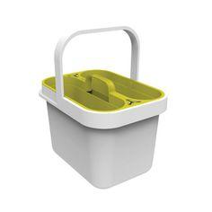 Wiaderko na środki czystości Clean&Store, białe/zielone | Bonami