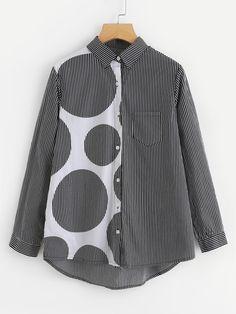 fe83ac078461 Shop Dot Panel Dip Hem Striped Blouse online. SheIn offers Dot Panel Dip  Hem Striped