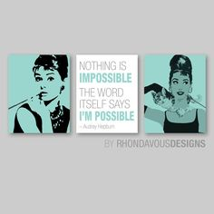 Breakfast at Tiffany's Audrey Hepburn Print Trio - Home Wall Art Bedroom Nursery Girl Decor. - You Pick the Size & Colors (NS-533) on Etsy, 15,15 €