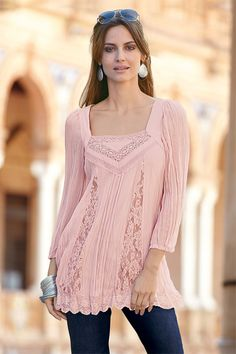 Women's Tops - Together Lace Trim Georgette Tunic - EziBuy New Zealand