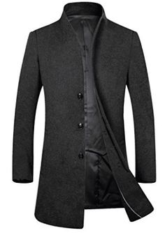 Men's Trench Coat Wool Blend Fleece Lining Top Coat Business Suit Jacket Mens Wool Trench Coat, Wool Top Coat, Mens Wool Coats, Winter Trench Coat, Topcoat Men, Mode Mantel, Slim Fit Chinos, Casual Blazer, Outfits