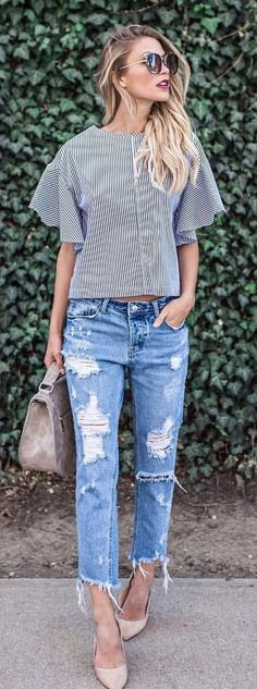 #summer #outfits  Striped Top + Ripped Jeans + Nude Pumps