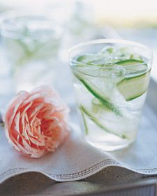 Cucumber-Ginger Fizzes from Martha Stewart that are both beautiful to look at and refreshing to drink.