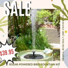 Give your backyard a touch of nature with the Soloar-powered Bird Fountain Kit, instantly turning any body of water into a relaxing bird bath. Currently 60%OFF with Free Shipping!! Only on neulons.com Fountain Head, Bird Fountain, Suns Out, How To Attract Birds, Cloudy Day, Spring Sale, Fish Tank, Solar Power, Sunny Days