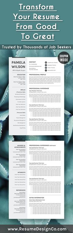 Transform your resume from good to great. Trusted by thousands of job seekers. ResumeDesignCo.Etsy.com ResumeDesignCo.com @resumedesignco #resume #cv #template #word #job #career #interview