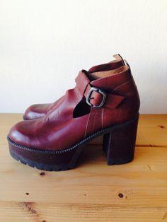 Vintage 70's Platform Leather by LydiaLoveVtg on Etsy