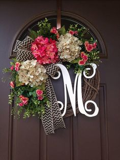 Pink and Cream Hydrangea Wreath with Initial Spring Wreath