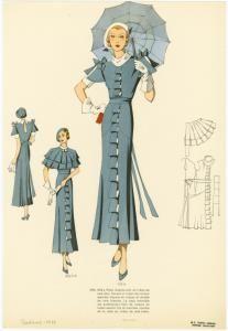 Robe d'après-midi en crêpe de soie bleu. (1934)