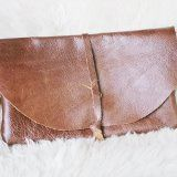 Handmade brown leather clutch